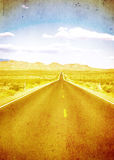 Grunge image of highway and blue sky Royalty Free Stock Photo