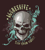 Grunge image with skull. And vintage floral patterns. Vector illustration Stock Photo
