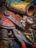 Grunge image of a stack of old tools Royalty Free Stock Images