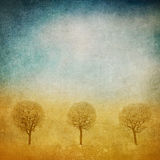 Grunge image of trees over grunge background Stock Photo