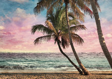 Grunge Image Of Tropical Beach Royalty Free Stock Images