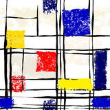 Grunge imitation of Mondrian painting Royalty Free Stock Images