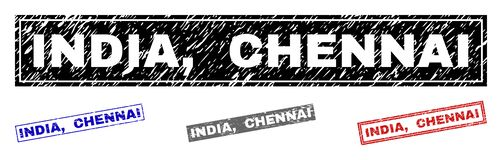 Grunge INDIA, CHENNAI Textured prostokątów Watermarks royalty ilustracja