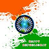 Grunge indio de la bandera del día feliz de la república tricolor  Fotografía de archivo libre de regalías