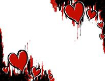 Grunge Ink Blood Heart Corners. A background illustration featuring grunge style corner page borders in red and black messy ink Stock Photos