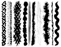 Grunge ink brush strokes. Set of 10 vector grunge ink brush strokes vector illustration