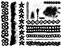 Grunge ink brush strokes. Set of 14 vector grunge ink brush strokes vector illustration