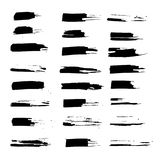 Grunge ink brush strokes set. Freehand black brushes. Handdrawn dry brush black smears. Modern vector illustration. Grunge ink brush strokes set. Freehand black Royalty Free Stock Images