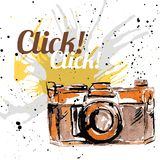 Grunge ink camera Royalty Free Stock Photos
