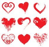 Grunge Ink Hearts Stock Photo