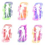 Grunge Inkblot Fashion Silhouettes vector illustration