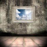 grunge Innenraum mit Abbildung und Feld Stockfotos