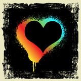 Grunge inramar och hjärtadesignen Royaltyfri Bild