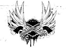 Grunge insignia. Vector illustration of Two cowboy revolver guns with shield on the grunge Background Stock Photo