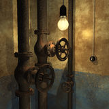 Grunge interior. Abstract grunge interior of basement with sewer pipes royalty free illustration