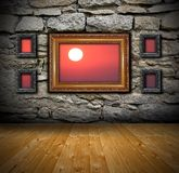 Grunge interior with abstract view to sunset Royalty Free Stock Photo