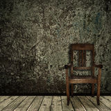 Grunge interior with chair. Photo of abstract grunge shabby interior with single chair, copyspace vector illustration