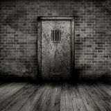 Grunge interior with prison door Royalty Free Stock Images