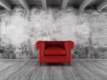 Grunge interior with red armchair stock illustration