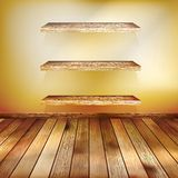 Grunge interior with three shelves. EPS 10 Royalty Free Stock Photo