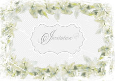 Grunge invitation  card frame of lilies on a light blue background Royalty Free Stock Images