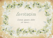 Grunge invitation postcard frame of lilies on a grunge background. illustration Royalty Free Stock Photography