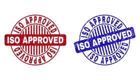 Grunge ISO APPROVED Scratched Round Watermarks stock illustration