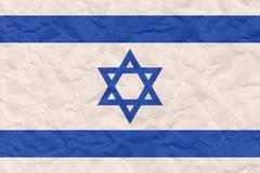Grunge Israel flag pattern  on crumpled sack paper Stock Photos
