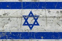 Grunge Izrael flaga na starej porysowanej drewnianej powierzchni Krajowy rocznika tło ilustracji