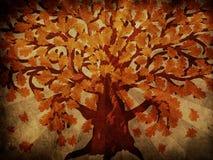 Grunge jesień dębowy drzewo Obrazy Royalty Free