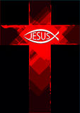 Grunge Jesus symbol on a cross and christian fish logo. Grunge Red Cross with a Ichthys Christian Fish and Jesus text on it. Vector and Jpg stock illustration