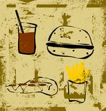 Grunge junk food collection Stock Photography