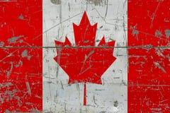Grunge Kanada flaga na starej porysowanej drewnianej powierzchni Krajowy rocznika tło obraz royalty free