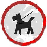 Grunge keep dog on lead sign Stock Photo