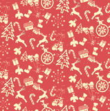 grunge Kerstmis naadloos patroon Stock Afbeeldingen