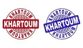 Grunge KHARTOUM skrapade runda vattenstämplar royaltyfri illustrationer