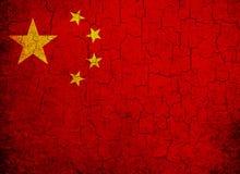 Grunge Kina flagga Arkivbilder