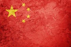 Grunge Kina flagga Bergskamflagga med grungetextur Royaltyfri Fotografi