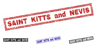Grunge KITTS I NEVIS ŚWIĄTOBLIWEGO Porysowani prostokąta Watermarks ilustracja wektor