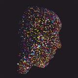 Grunge kleurrijk abstract menselijk hoofdsilhouet Stock Afbeelding