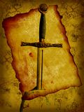 Grunge knight sword. Grunge illustration of ancient parchment and knight sword Stock Photography