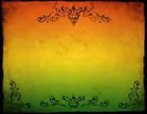 Grunge kolorowy papierowy tło z kwiecistym ornamentem Obrazy Royalty Free