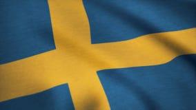 Grunge kolorowy tło, flaga Sweden Zamyka up, trzepoczący downwind Zdjęcia Stock