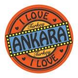 Grunge koloru znaczek z tekstem Kocham Ankara inside royalty ilustracja