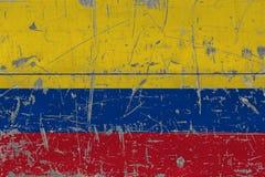 Grunge Kolumbia flaga na starej porysowanej drewnianej powierzchni Krajowy rocznika tło zdjęcie stock