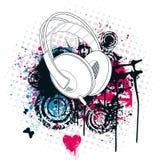 Grunge Kopfhörer-Musik-Stadt stock abbildung