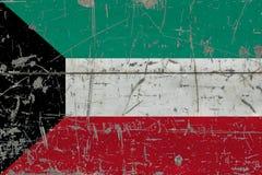 Grunge Kuwait flag on old scratched wooden surface. National vintage background.  royalty free illustration