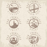 Grunge label set  landmarks of San Francisco California,USA Stock Image