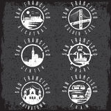 Grunge label set  landmarks of San Francisco California,USA Royalty Free Stock Photo