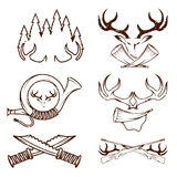 grunge labels set with hunting theme Royalty Free Stock Image